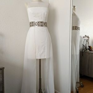 NWT Bebe white embellished waist Dress